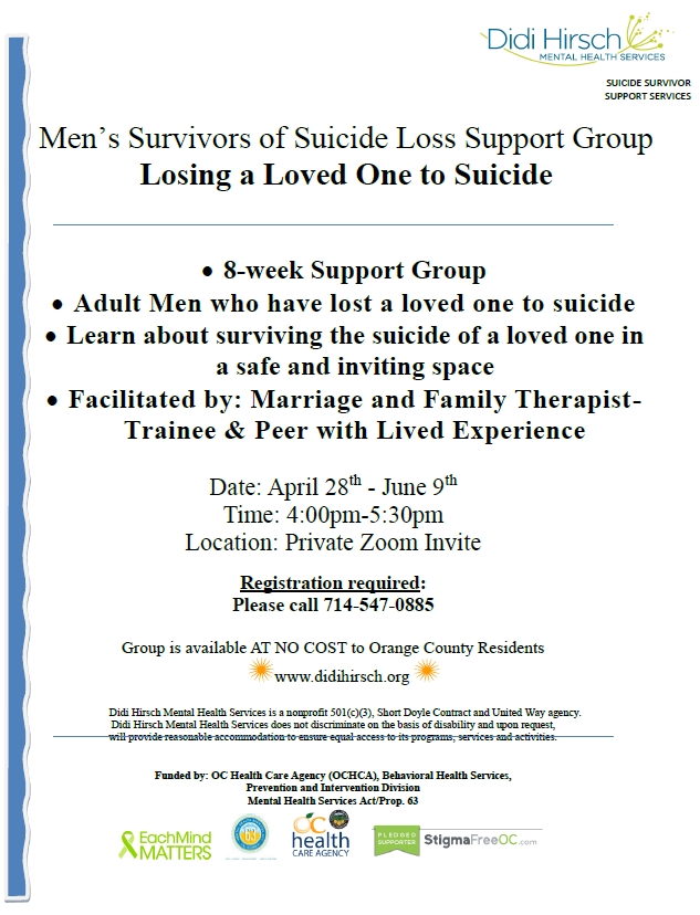 Men's Survivors of Suicide Loss Support Group: Losing a Loved One to Suicide