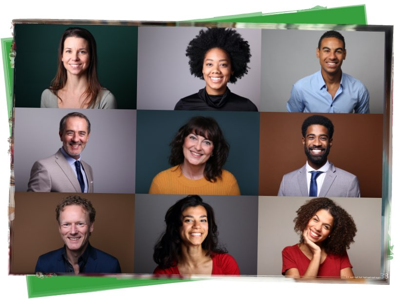 Group of nine people of different ethnicities